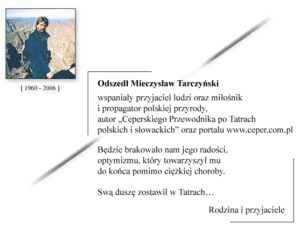 nekrolog Mieczysława Tarczyńskiego od rodziny i przyjaciół