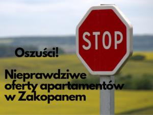 Uwaga na oszustów oferujących apartamenty w Zakopanem